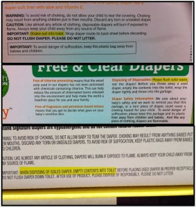 Disposable diaper companies actually instruct you to flush solid waste (click to enlarge).