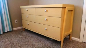 """The finished dresser painted in """"Mustard Seed Yellow"""" mixed with a little """"Ironstone"""" to lighten it up a bit."""