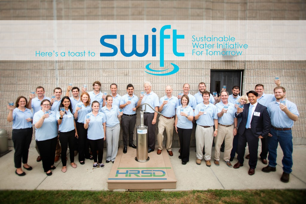 HRSD's SWIFT team toasts their successful production of purified water on September 15, 2016.