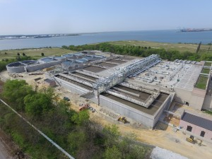View of construction efforts at HRSD's Virginia Initiative Plant.