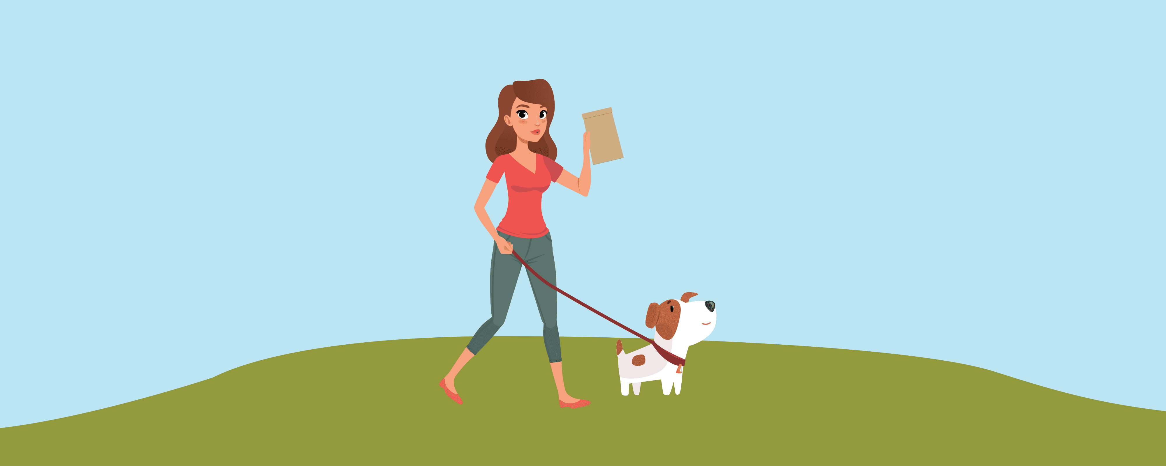 Woman walking her dog with a baggie