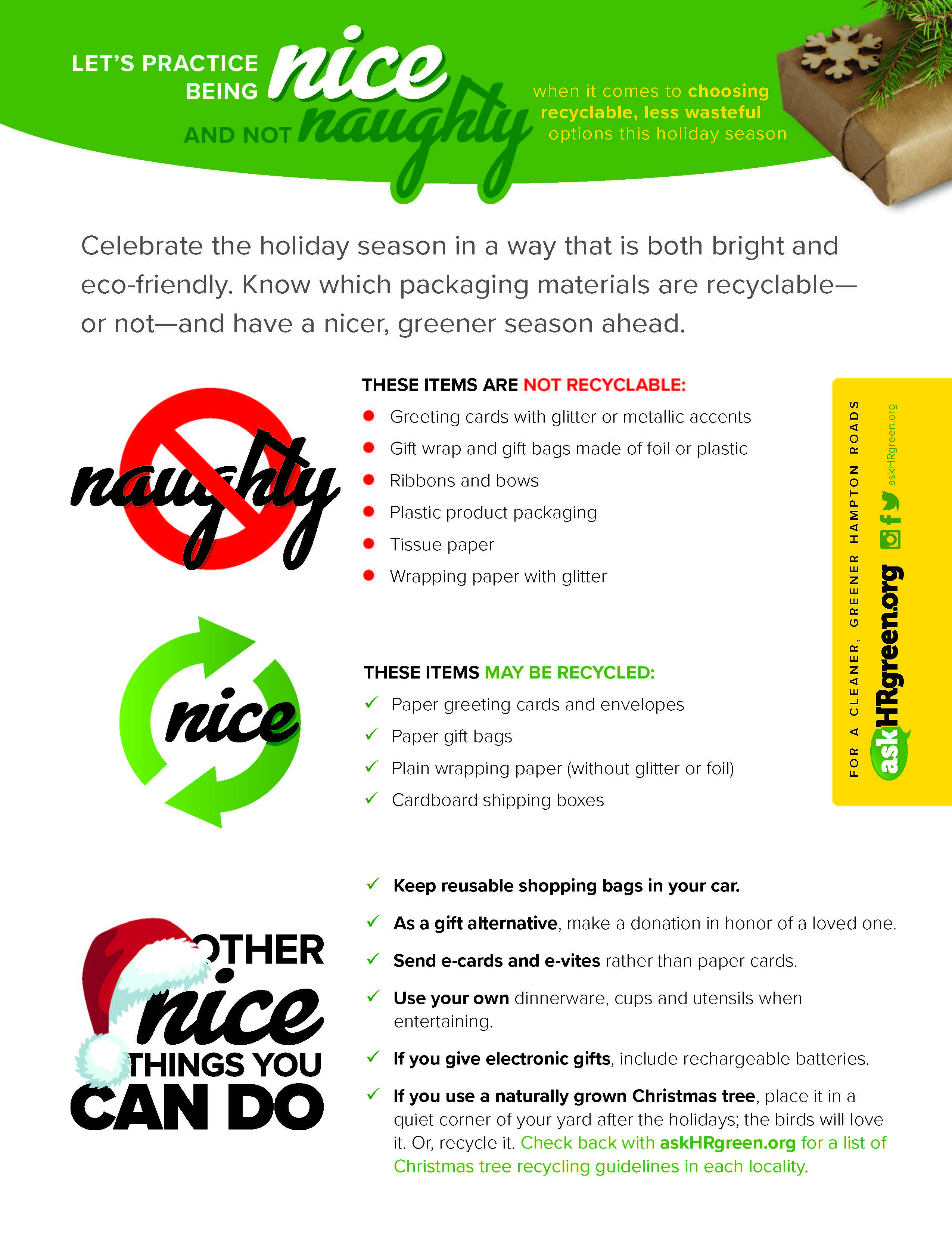 "askHRgreen.org Holiday Recycling ""Naughty"" and ""Nice"" list"